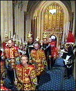 [ image: The heralds enter the chamber ahead of the Queen]