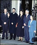 [ image: A political gap was bridged when Gerry Adams visited 10 Downing Street]