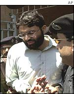 Omar Sheikh arriving at court in Karachi