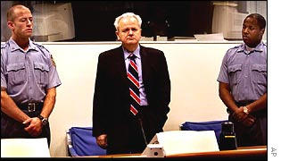 Slobodan Milosevic at the war crimes tribunal