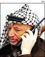 Yasser Arafat, presidente de la Autoridad Nacional Palestina.