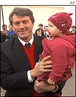 Former Prime Minister Viktor Yushchenko campaigns with his daughter Kristina