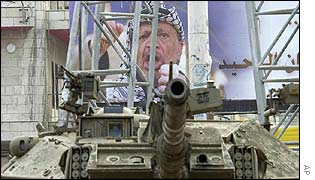 Tank in front of poster of Yasser Arafat