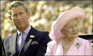 Princes Charles and Queen Mother