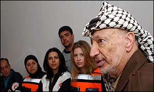 Yasser Arafat at his offices on Saturday with visiting aid workers and supporters