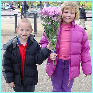 Lewis with sis Gemma, 9, Essex: