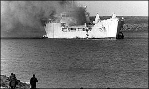 British landing ship the Sir Galahad burns after an Argentine air attack off the Falklands June 1982