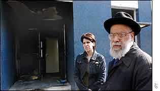 Raphael Perez, a former rabbi, inspects the damage to a synagogue in Strasbourg
