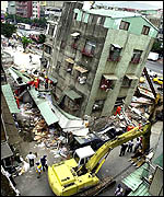 A collapsed building in Taipei