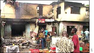 The aftermath of the explosions at an army dump store in Lagos on 27 January