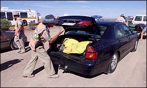 Cars being searched close to Woomera