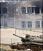 Israeli tank outside of Arafat's compound in Ramallah