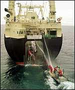 Greenpeace protestors and whaling vessel   PA