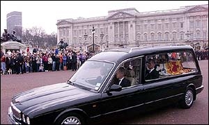 The Queen Mother's coffin arriving in London on Tuesday afternoon