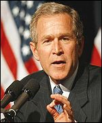 President Bush talks of his stance on the Middle East in Philadelphia, USA