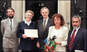 1998 petition. From left: homeopath Peter Smith, organiser Doreen Skudder, Paul Tyler MP, victim Sybil Griffiths and Dr K Baosha.