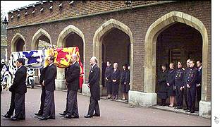The Queen Mother's coffin at St James's Palace on Tuesday