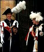 The Queen and the Princess Royal in their Garter robes