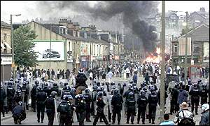 Rioting in Bradford last summer