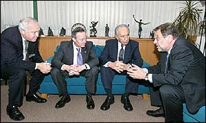 From left, EU Middle East peace envoy Miguel Angel Moratinos,  Josep Pique,  Israeli Foreign Minister Shimon Peres and  European Union foreign policy chief Javier Solana