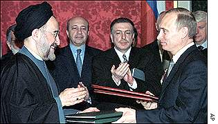 President Khatami of Iran and President Putin of Russia at an earlier meeting