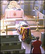Coffin resting in St James's Palace