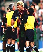 Abel Xavier argues with officials after defeat to France in the Euro 2000 semi-final