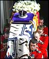 The Queen Mother's coffin draped in her standard