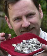 James Hawkesworth with found coins