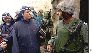 Nuns confront Israeli soldier outside St Mary's Church, Bethlehem