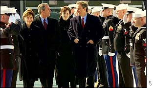 The Bush (left) and Blair (right) couples at Camp David, Maryland, US, in February 2001