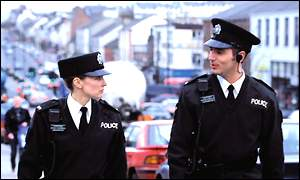 Officers wore the uniform on patrol on Friday