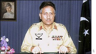 General Pervez Musharraf before the beginning of his speech