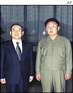 South Korean envoy Lim Dong-won (l) and North Korean President Kim Jong-il (r)