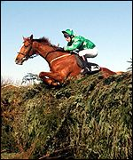Bindaree on his way to a surprise victory at the 2002 Martell Grand National
