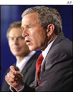 US President George W Bush, foreground, with UK Prime Minister Tony Blair