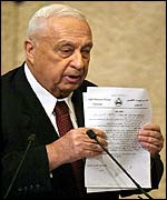 Sharon shows documents to Knesset allegedly linking Arafat to suicide bombings