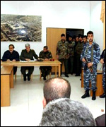 The makeshift military tribunal in Ramallah - a picture released by the Palestinian Authority