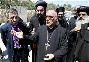 Latin Patriarch Michel Sabbah (centre) and other patriarchs and priests