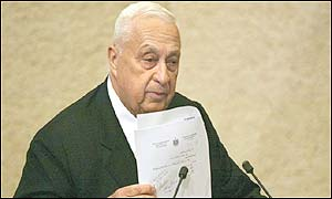 The Israeli Prime Minister, Ariel Sharon, during his special address to the Israeli Parliament