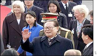 Jiang Zemin arriving in Germany