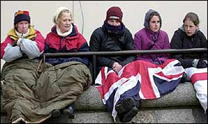 Royalists wait for the Queen Mother's funeral