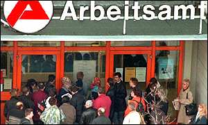 People waiting for the unemployment centre to open in Berlin