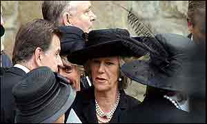 Camilla Parker Bowles talks to other mourners after the funeral