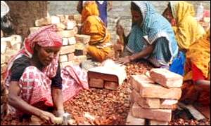 Bangladeshi women working in a brick works