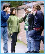 Young people smoking