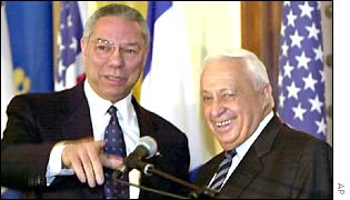 Colin Powell with Ariel Sharon