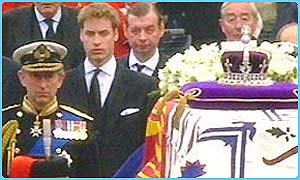 Prince Charles and Prince William in the funeral procession