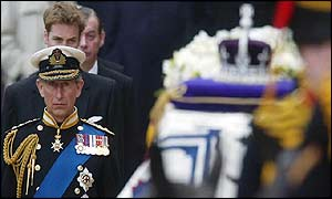 Prince Charles walked behind his grandmother's coffin