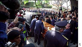 Felix was placed in a closed coffin in Mexico City